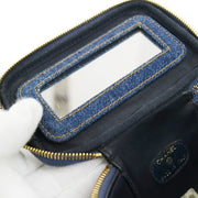 CHANEL CC Logos Cosmetic Hand Bag Pouch Denim
