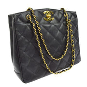 CHANEL CC Logos Chain Shoulder Tote Bag Black Caviar Skin