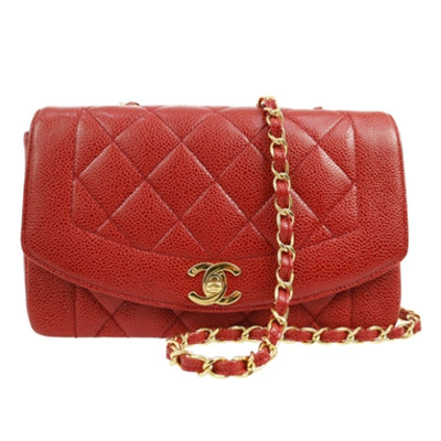 CHANEL Small Diana Red Caviar Skin