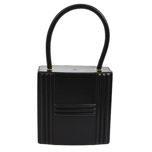 HERMES CADENA Hand Bag Purse Black Box Calf
