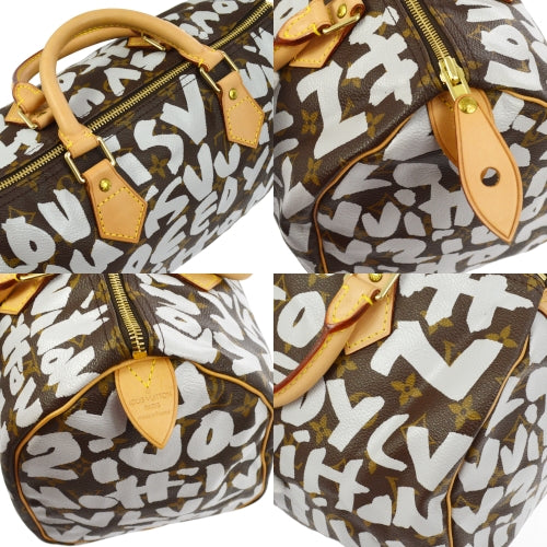 LOUIS VUITTON SPEEDY 30 HAND BAG WHITE MONOGRAM GRAFFITI M92195