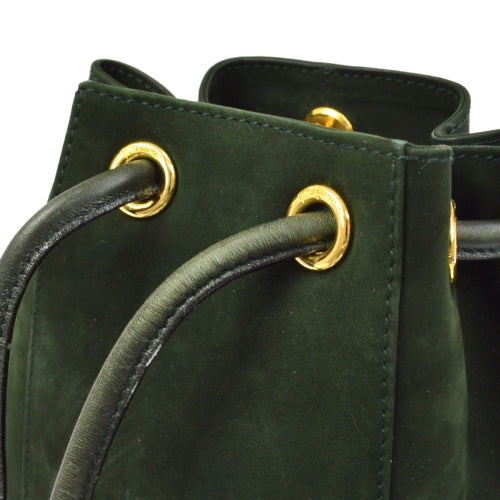 Salvatore Ferragamo Vara Backpack Hand Bag Dark Green Suede