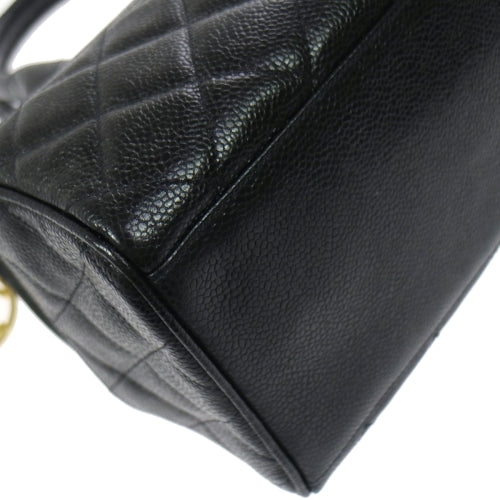 CHANEL Quilted Hand Bag Black Caviar Skin