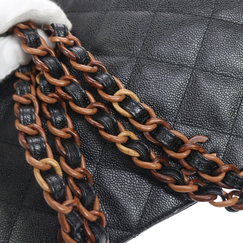 CHANEL Quilted Chain Shoulder Tote Bag Black Caviar Skin