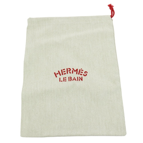 HERMES Le Bain Yachting Chevrons Drawstring Pouch Cotton