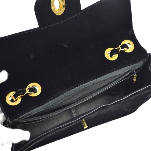 CHANEL Mademoiselle Classic Flap Jumbo Shoulder Bag Black Velvet