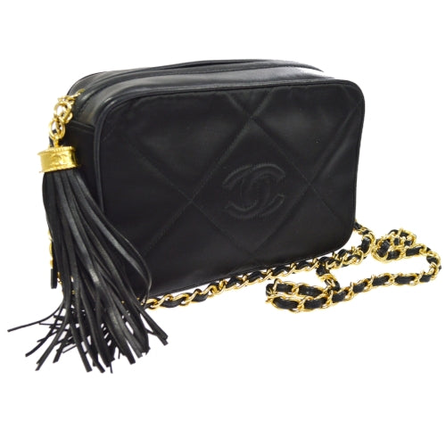 CHANEL Quilted CC Logos Fringe Single Chain Shoulder Bag Black Satin