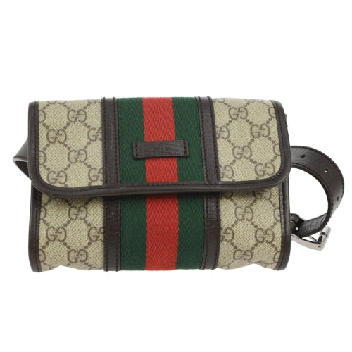 GUCCI GG Shelly Line Bum Bag Waist Pouch Brown