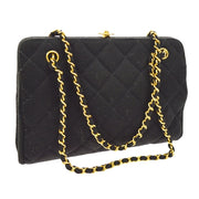 CHANEL Quilted CC Logos Chain Hand Bag Black Cotton