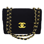 CHANEL Mademoiselle Classic Flap Jumbo Shoulder Bag Black Velor