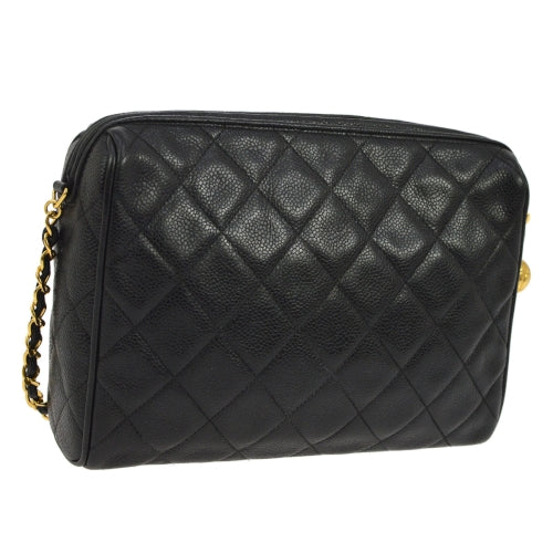 CHANEL Quilted CC Single Chain Shoulder Bag Black Caviar Skin