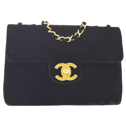 CHANEL Quilted Classic Flap Jumbo Shoulder Bag Black Velvet