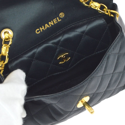 CHANEL Quilted CC Single Chain Shoulder Bag Black Satin
