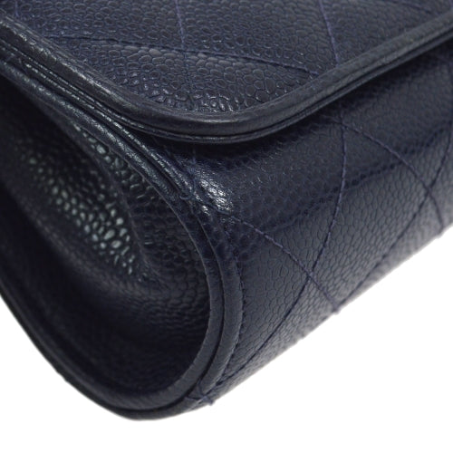 CHANEL Quilted CC Single Chain Shoulder Bag Navy Caviar Skin