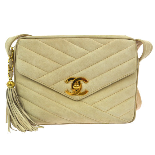 CHANEL Quilted CC Fringe Shoulder Bag Beige Suede