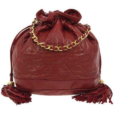 CHANEL Quilted Fringe CC Drawstring Chain Shoulder Bag Red