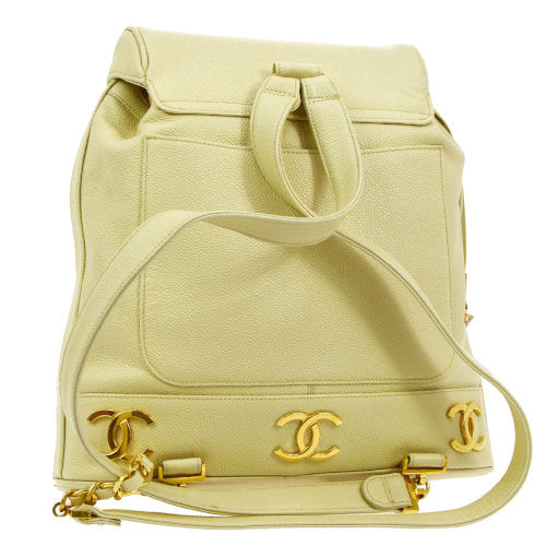 CHANEL CC Logos Chain Backpack Bag Ivory Caviar Skin