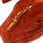 CHANEL Quilted CC Logos Hand Bag Red Velvet