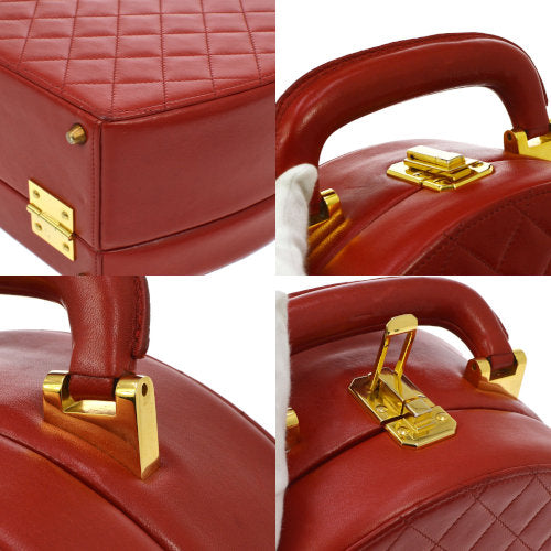 CHANEL Quilted CC Logos Cosmetic Vanity Hand Bag Red