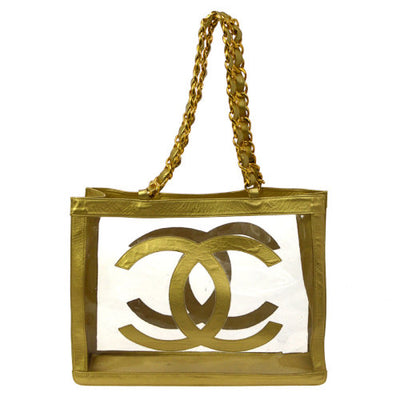 CHANEL Jumbo CC Double Chain Shoulder Bag Clear Gold