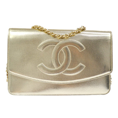 CHANEL Woc CC Logos Chain Shoulder Wallet Bag Champagne Gold