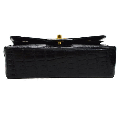 CHANEL Classic Double Flap Small Shoulder Bag Black Crocodile