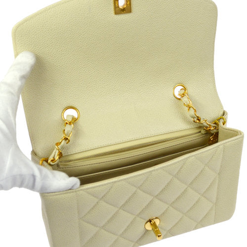 CHANEL Quilted CC Logos Single Chain Shoulder Bag Ivory Caviar Skin