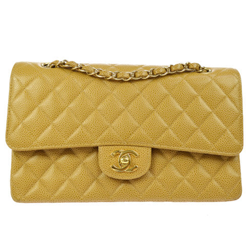 CHANEL Quilted Classic Double Flap Medium Shoulder Bag Caviar