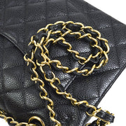 CHANEL Classic Double Flap Small Chain Shoulder Bag Black Caviar Skin