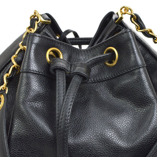 CHANEL CC Drawstring Chain Shoulder Bag Black Caviar Skin