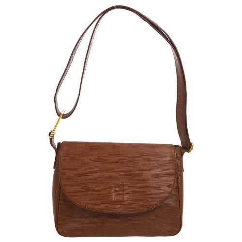 FENDI Logos Shoulder Bag Brown