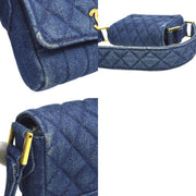 CHANEL Quilted CC Logos Mini Shoulder Bag Blue Denim