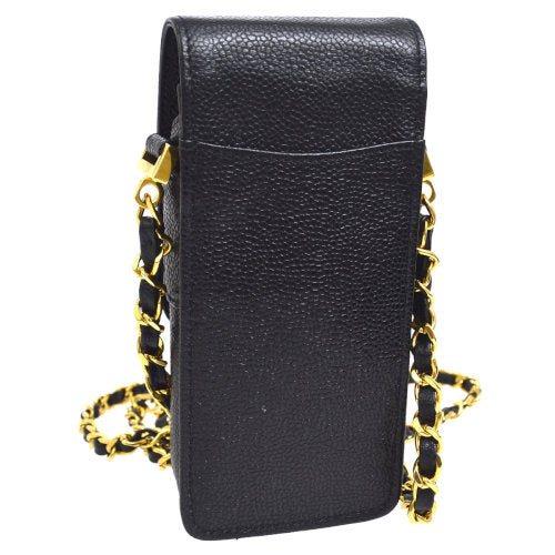 CHANEL CC Chain Mobile Phone Case Shoulder Bag Black Caviar Skin