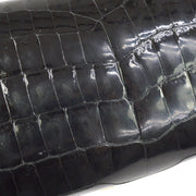 HERMES EGEE Clutch Bag Black Crocodile