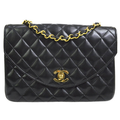 CHANEL Quilted CC Half Flap Single Chain Shoulder Bag Black