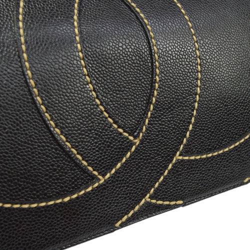 CHANEL Jumbo CC Logos Shoulder Bag Black