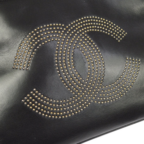 CHANEL Studs CC Logos Shoulder Tote Bag Black