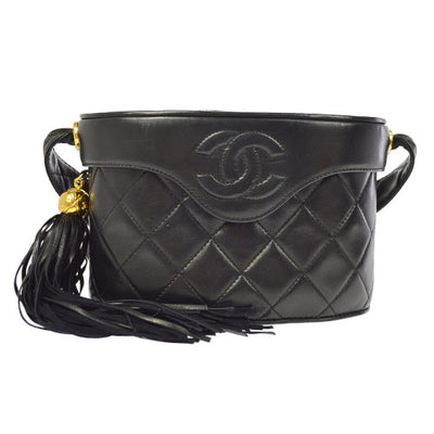 CHANEL Quilted Fringe CC Logos Cross Body Shoulder Bag Black