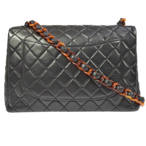 CHANEL Quilted Tortoiseshell Classic Flap Jumbo Shoulder Bag Black