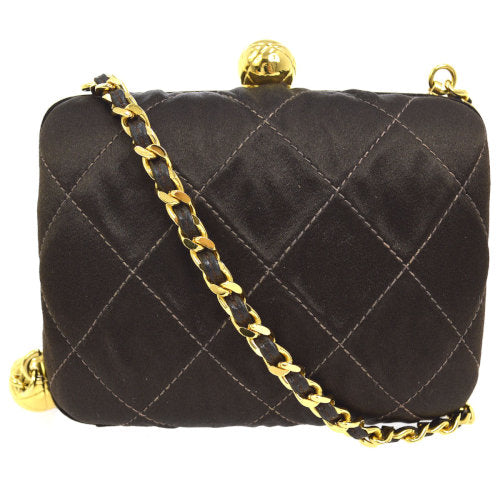 CHANEL Quilted CC Fringe Chain Shoulder Bag Brown Satin