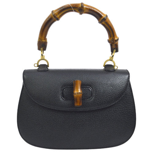 GUCCI Bamboo Line Hand Bag Black