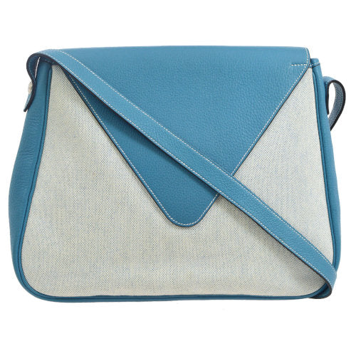 HERMES CHRISTINE Shoulder Bag Blue Blue White Toile H Traurillon Clemence