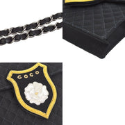 CHANEL Quilted CC Logos Camellia Single Chain Shoulder Bag Black