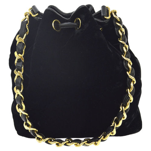 CHANEL CC Drawstring Chain Shoulder Bag Black Velvet