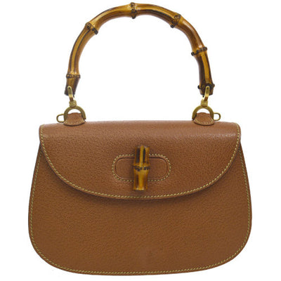 GUCCI Logos Bamboo Hand Bag Brown