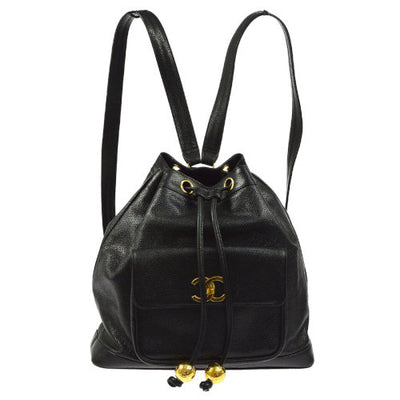 CHANEL CC Drawstring Chain Backpack Bag Black Caviar Skin
