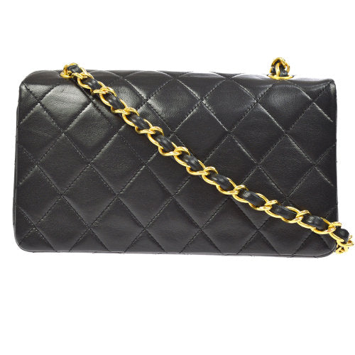 CHANEL Quilted CC Logos Single Chain Shoulder Bag Black
