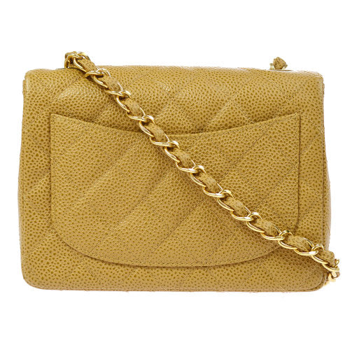 CHANEL Quilted Classic Flap Mini Square Shoulder Bag Beige Caviar