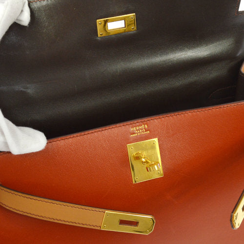 HERMES KELLY 32 Sellier 2way Hand Bag Tricolor Box Calf