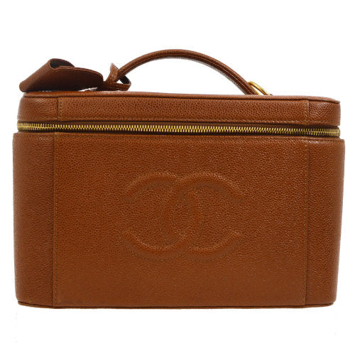 CHANEL CC 2way Cosmetic Vanity Hand Bag Brown